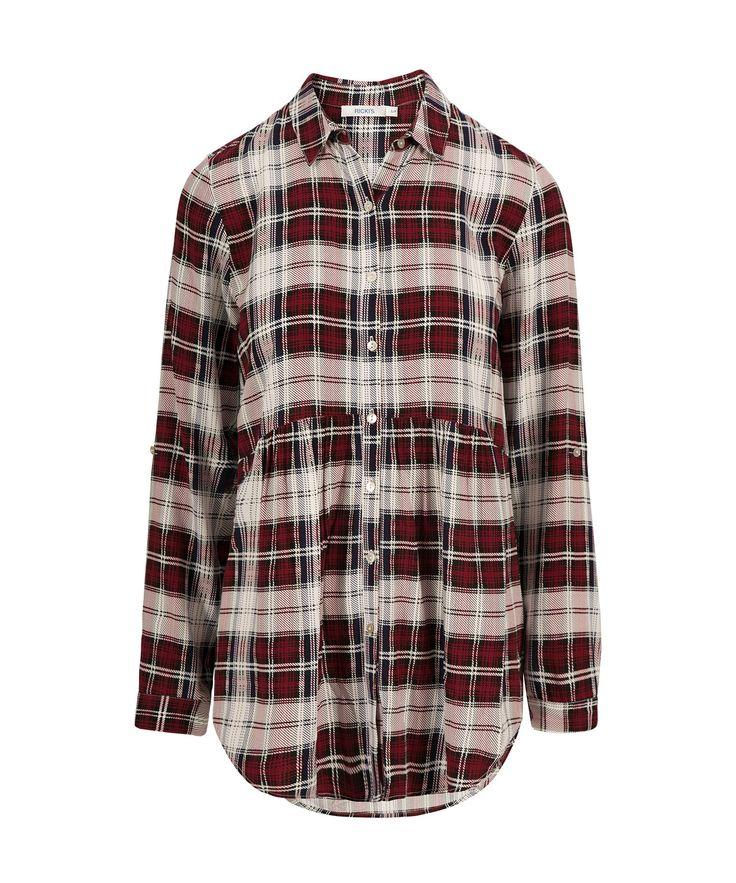 Plaid Tunic BlousePlaid Tunic Blouse, Red Print- size small (Love, love, love)