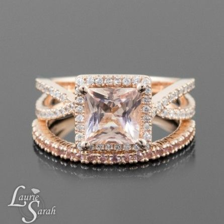 Peach Pink Sapphire Ring, Morganite Engagement Ring, Princess Cut Morganite Wedding Set with Peach Sapphire Wedding Band in 14kt Rose Gold - LS3550
