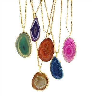 agate necklaces: Statement Necklaces, Agates Necklaces W, Slices Necklaces, Agates Slices, Nissa Jewelry, Jewelry Bright, Colors Necklaces, Necklaces I, Bright Agates