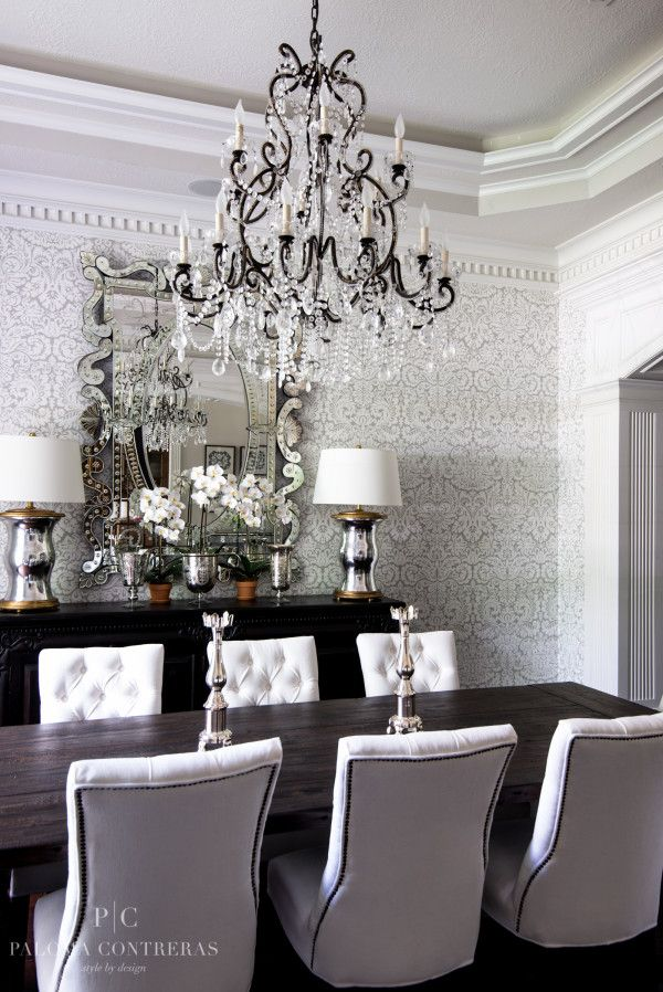 Dining Room Chandelier Damask Wallpaper Decorating White Tufted Studded Chairs Better Decor Bible Silver Sparkling