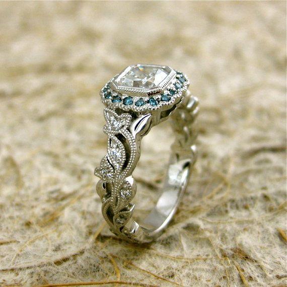 VintageStyle Diamond Engagement Ring in by AdziasJewelryAtelier
