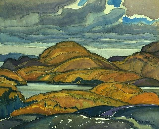 """A Grey Day,"" Frank Carmichael, 1926, watercolor over graphite and black chalk on wove paper, 11 x 13 1/3"", National Gallery of Canada."