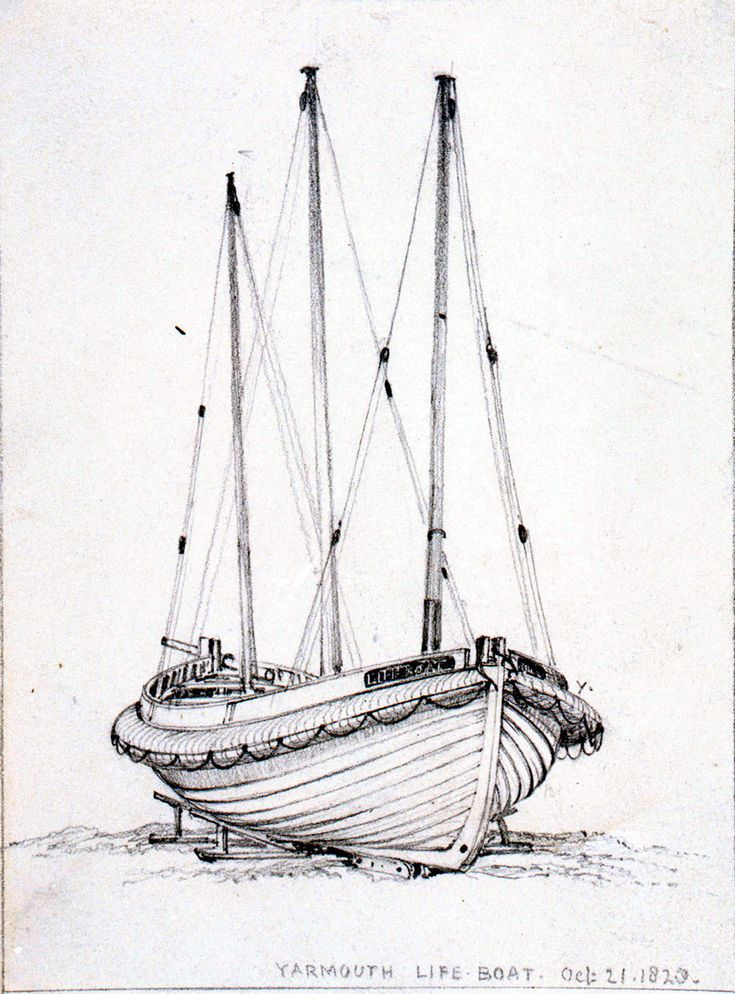 Yarmouth lifeboat, a three masted lugger, drawn up on the beach starboard bow, 21 Oct 1828, Edward William Cooke