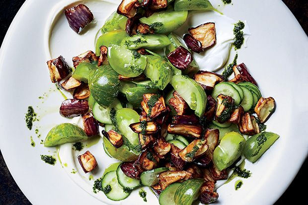 Find the recipe for Fried Eggplant, Tomato, and Cucumber Salad and other eggplant recipes at Epicurious.com