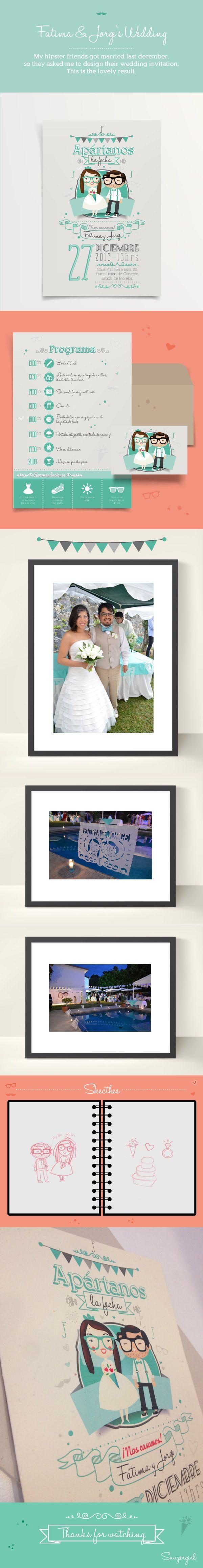 Fatima & Jorge's Wedding Invitation by Suupergirl B., via Behance