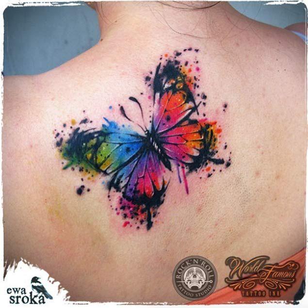 Large Watercolor Butterfly Tattoo by Ewa Sroka
