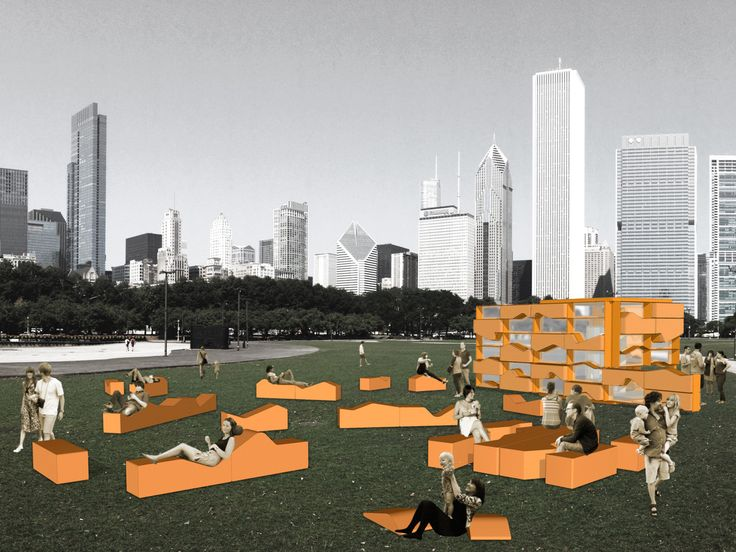 Like a tangram puzzle, the rigid geometry of the cube was fragmented into a pattern of chaises longues which are disassembled from the cube and arranged to fit the vendor's changing needs. — Vazio S/A | Belo Horizonte, Brazil — Chicago Architecture Biennial Lakefront Kiosk Competition