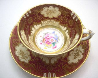 Crown Staffordshire Tea Cup And Saucer, Marroon Red and Gold tea cup, Fine Bone china, English Tea cup set, Maroon and Gold tea cup.