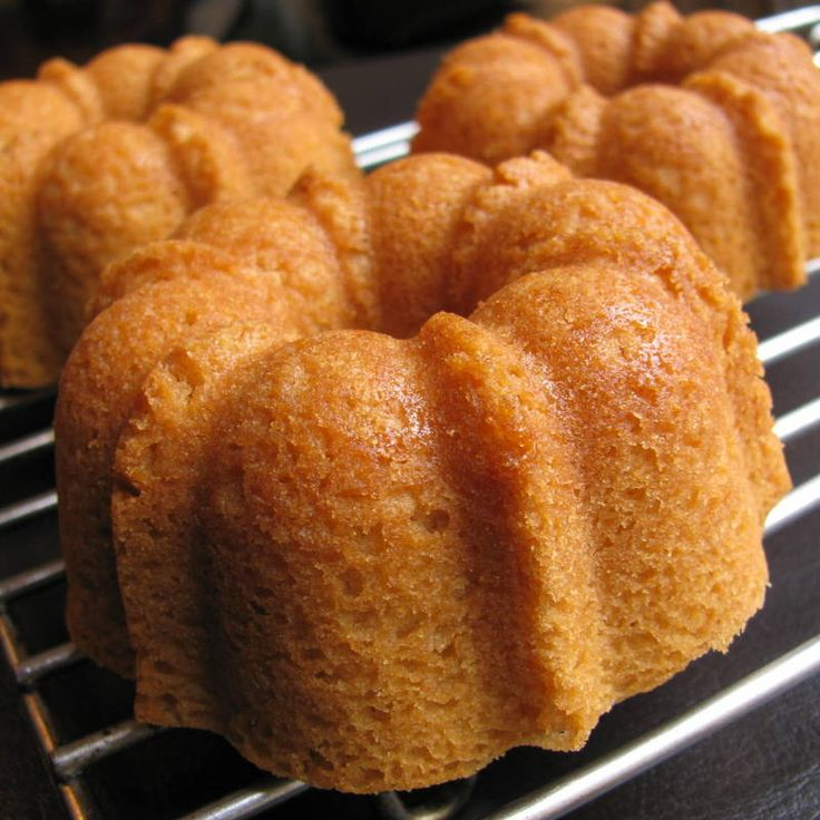 Glutten Free Pound Cake (also... egg & dairy!)...used almond milk. Baked in full size bundt pan for 40 minutes.