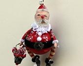 Papá Noel Folk Art fiesta de la Navidad Ornamento caprichoso de decoración