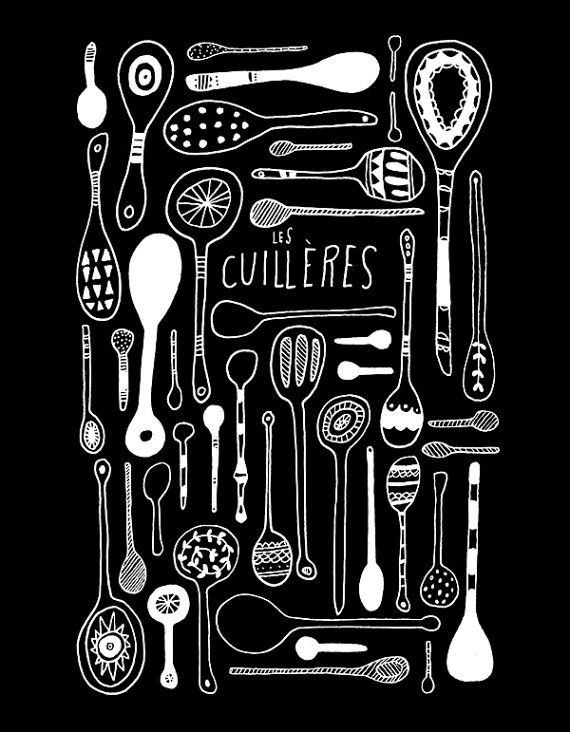 Les Cuillères Print - Lisa Congdon. Excelente idea para algún cuadro o una pared en la cocina.