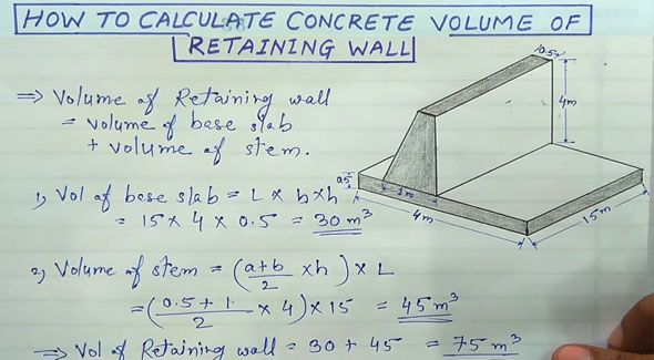How To Work Out The Quantity Of Concrete In A Trapezoidal Retaining Wall Retaining Wall Retaining Wall Design Civil Engineering Construction