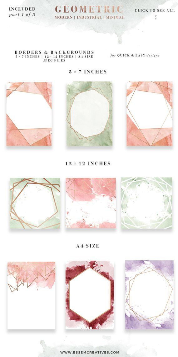 Rose Gold Geometric Watercolor Clipart, Mothers Day Card Splash Splatter, Wedding Invitation Template, Peach Pink Green A4 5×7 Border Frames