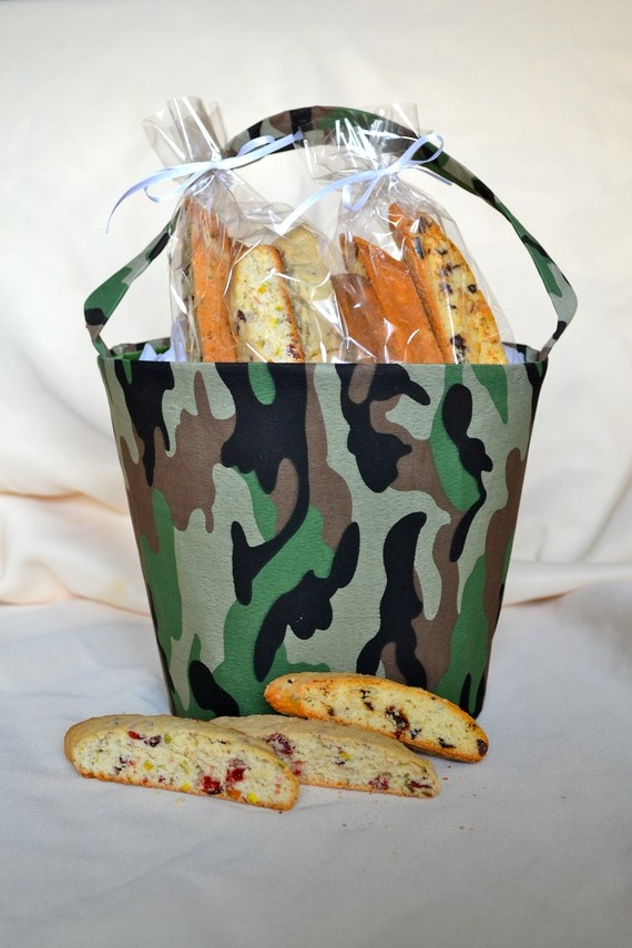 Biscotti Cookies Camo Bucket-2 Pounds of Biscotti-Military Gift Basket $30.00