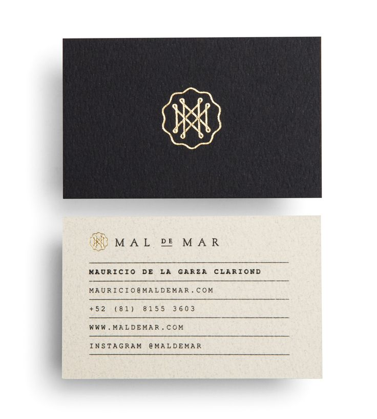 Business card with gold foil detail for on-line art, design, architecture and photography journal Mal de Mar designed by Face