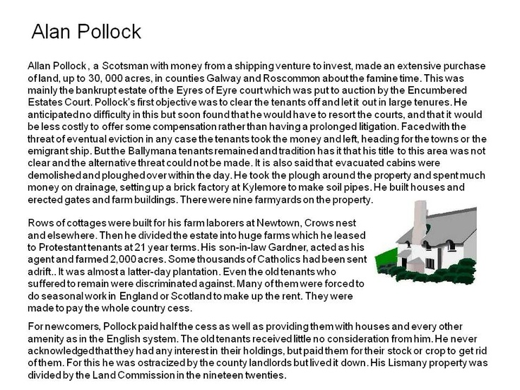 Alan Pollock and the Land War, Evictions County galway