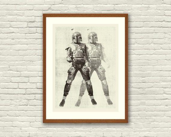 BOUNTY HUNTER - Star Wars Inspired, Boba Fett 18 x 24 Handprinted Silkscreen Art Print, Modern Poster, Boutique, Retro Home via Etsy