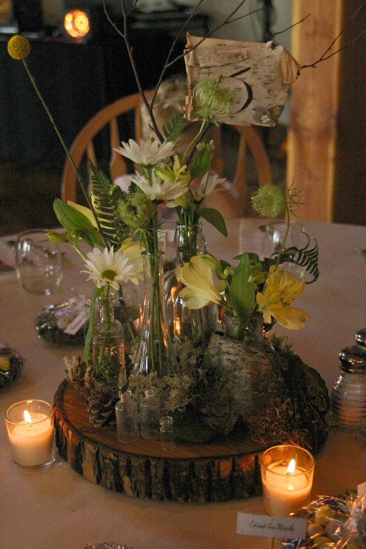 woodsie wedding reception table arrangements