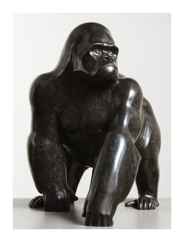 The territorial dominance of the Silverback Gorilla is portrayed in this African wildlife bronze. The artist has pared away surface detail to focus on the wild animal's massive form and magisterial presence. Available in an edition of twelve only.