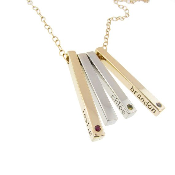 solid gold birthstone mommy jewelry 14k bar with diamonds. Black Bedroom Furniture Sets. Home Design Ideas
