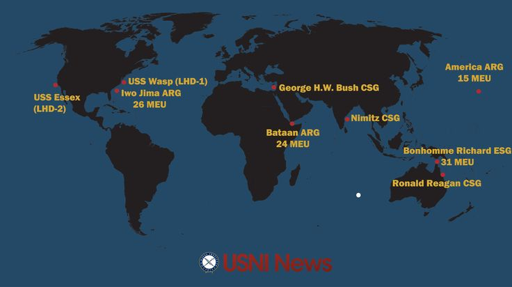 USNI News Image    These are the approximate positions of the U.S. Navy's deployed carrier strike groups and amphibious ready groups throughout the world as of July 17, 2017. In cases where a CSG or ARG is conducting disaggregated operations, the map reflects the location of the capital ship.