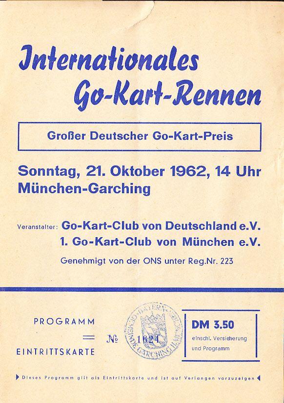 Go-Kart-Rennen 1962. Zeittypische Inserate Programm = Eintrittskarte. Einriss oben 6 mm, Histocard
