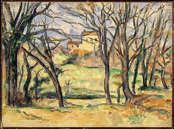 Paul Cézanne   Trees and Houses Near the Jas de Bouffan   The Met.Artist:Paul Cézanne (French, Aix-en-Provence 1839–1906 Aix-en-Provence) Date:1885–86 Medium:Oil on canvas