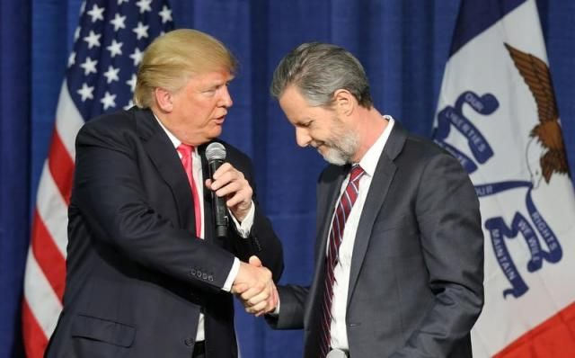 """""""Evangelical Jerry Falwell Jr. to head Trump education task force"""" -- Reuters"""