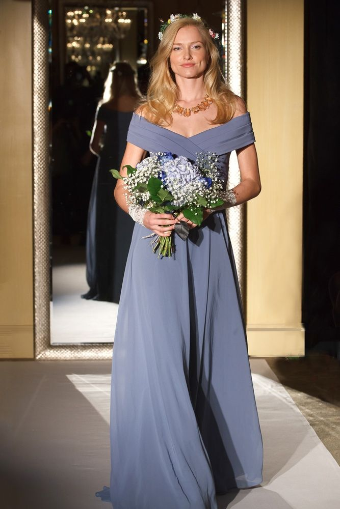 Off-the-Shoulder Bridesmaid Dress (OC291355) | Photo Courtesy of Oleg Cassini. View More:  http://www.insideweddings.com/news/fashion/timeless-elegance-from-the-fall-2017-collections-by-oleg-cassini/3299/