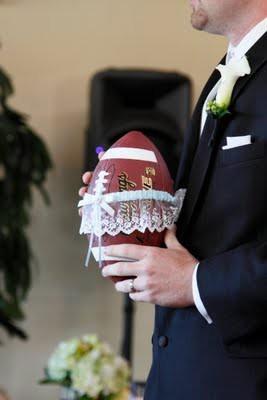 Football garter toss... My husband will do this!