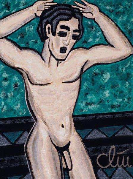 JACQUELINE DITT- Akt männlich 2006 Gemälde Männerakt  Bilder Mann nude Akt  Bild