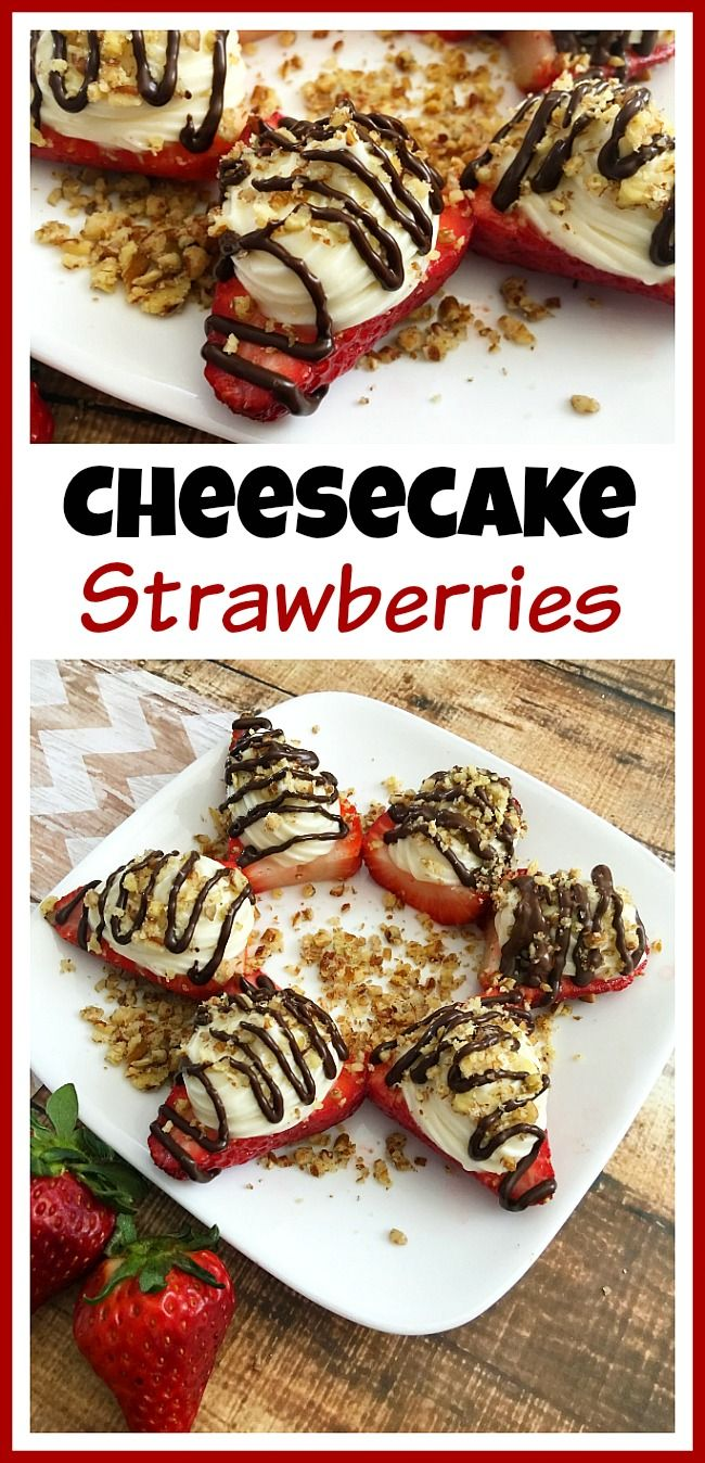 If you want a sweet treat but don't want to spend forever putting it together, then you've got to make these easy and delicious cheesecake strawberries! | dessert, recipe, no-bake, food, fresh fruit
