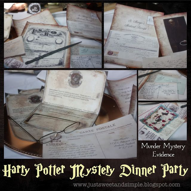 Harry Potter Murder Mystery Dinner.  This blogger created an entire plot and tons of printables to host this party.  It looks pretty cool.
