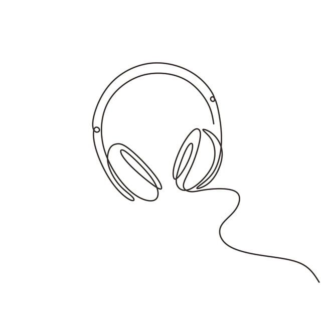 One Line Drawing Of Headphone Speaker Device Gadget Continuous Minimalism Lineart Design Isolated On White Background Line Playlist Sketch Png And Vector Wit Line Art Drawings Outline Art Minimalist Drawing