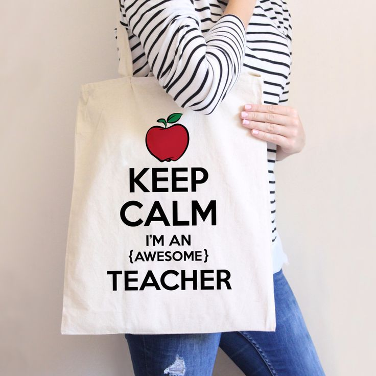 Keep Calm, I'm an (Awesome) Teacher! This cotton canvas tote bag makes for a fun school time gift for the teacher, either to put more items in or as a gift itself. The bag is 100% cotton canvas, so it