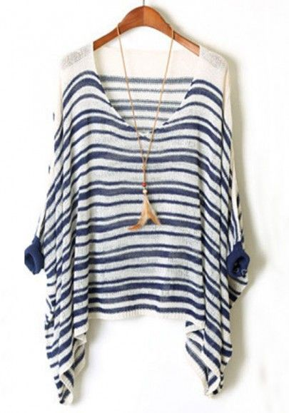 Blue-White Striped Asymmetric Bat Sleeve Loose Cotton Sweater