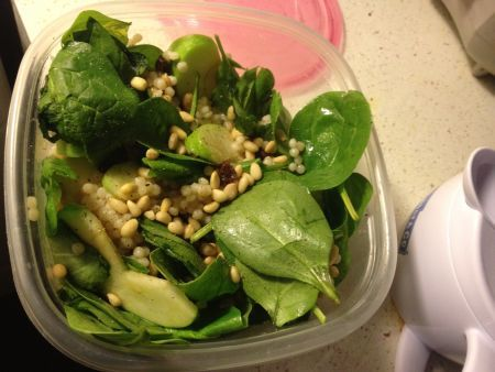 Wilted Spinach with Raisins and Apples