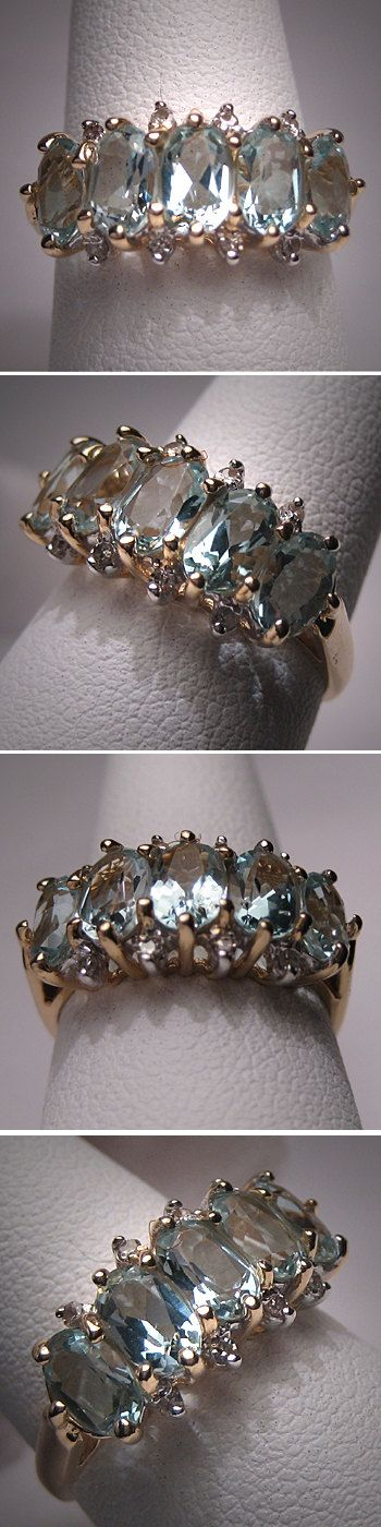 Vintage Aquamarine Diamond Wedding Ring Band by AawsombleiJewelry, $895.00