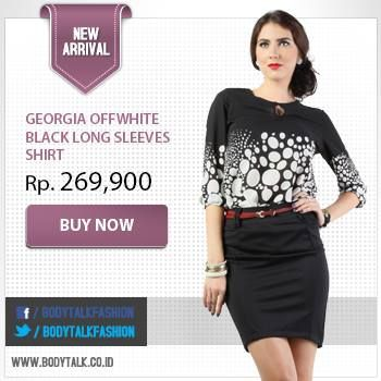 Georgia Offwhite Black Long Sleeves Shirt makes you look fabulous! Get it now: www.bodytalk.co.id