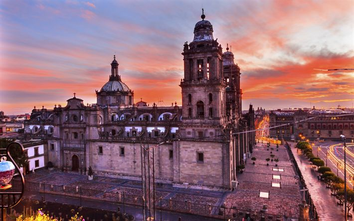 Download wallpapers Metropolitan Cathedral, Mexico City, Zocalo, 4k, Mexico, sunset, Mexico City landmarks, evening