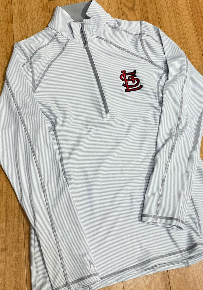 new style 3ee7f 13c2b Antigua STL Cardinals Womens White Tempo 1/4 Zip Pullover in ...