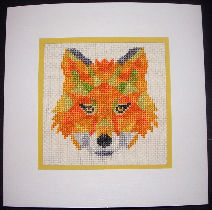 Completed Cross Stitch Extra Large Card - Beautiful Fox | eBay