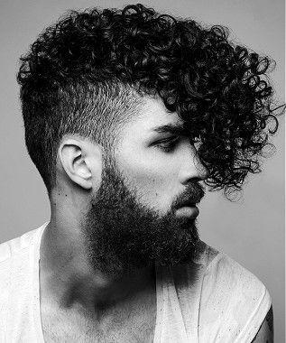 Looooooooovvee this.     A Medium Black curly quiff shaved-sides beard mens haircut hairstyle by Rainbow Room