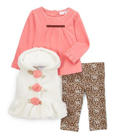Loving this Pink & Brown Hooded Vest Set - Infant, Toddler & Girls on #zulily! #zulilyfinds
