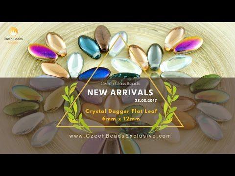 Crystal Czech Glass Dagger Beads Flat Leaf 6mm x 12mm - New Arrivals 23.03.2017 | CzechBeadsExclusive