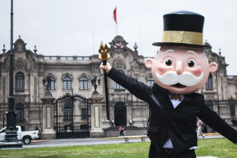 MR. MONOPOLY celebrates in front of the Government Palace of Peru in Lima. During the MONOPOLY HERE & NOW property space vote, Lima fans united to vote Peru's capital city as the top property in the upcoming MONOPOLY HERE & NOW: World Edition game. (Photo: Hasbro)