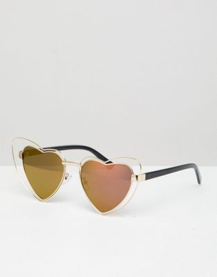 37183b51df5 AJ Morgan cat eye heart sunglasses in gold/pink | Clothes ...