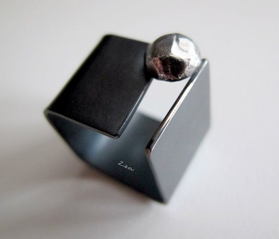Black diamond  oxidized silver square ring made to by ZizouArT, $135.00