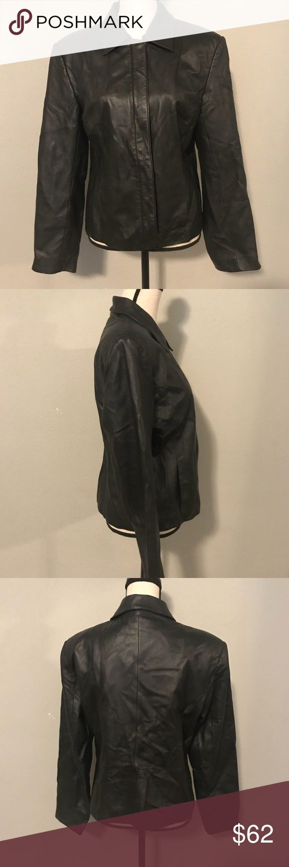 "[Clio] Black Leather Jacket Clio, black leather jacket. Fitted. Missing zipper handle.  Size: 10 Material: 100% Leather Shell Condition: Pre-owned. Fair. Approx. Measurements:  ▪️Pit to Pit: 20"" ▪️Arm: 23.5"" ▪️Length: 23""  ❤️❤️❤️SHIP SAME DAY OR NEXT DAY❤️❤️❤️ ❤️ORDERS ON WEEKENDS SHIP MONDAY ❤️❤️REASONABLE OFFERS ARE CONSIDERED❤️❤️ Clio Jackets & Coats"