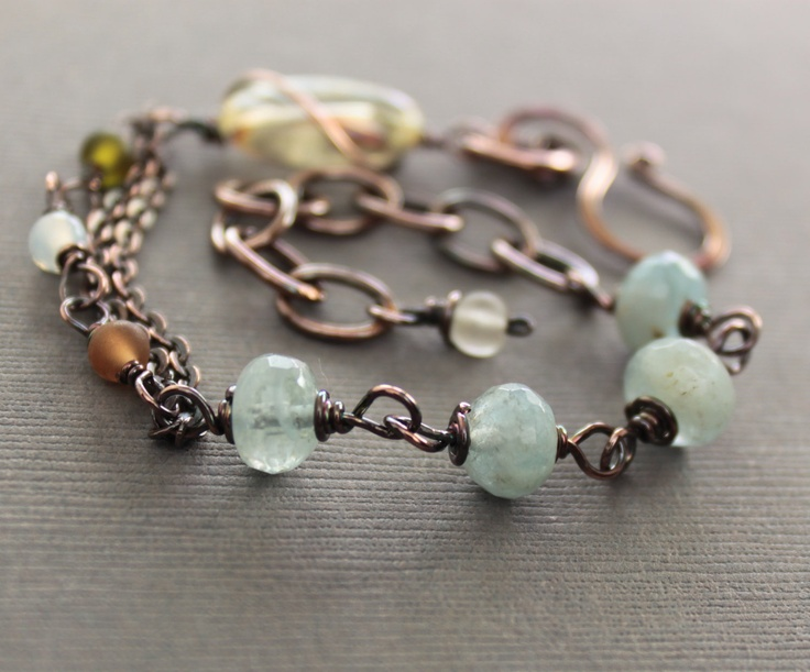 Last one - Artisan linked copper bracelet with citrine, aquamarine and small matte Czech glass beads. $34.00, via Etsy.: Copper Bracelets, Glasses Beads, Beads Bracelets, Link Copper, Inspiration Bracelets, Glass Beads, Pretty Bracelets, Etsy Shops, Czech Glasses